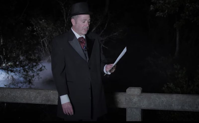 For a Johnston County Heritage Center Ghost Walk, Chris Johnson portrays Aaron Lee, who says he heard the voice of a ghost on a bridge in Johnston.