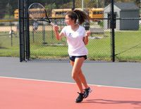 Heritage's Sieun Lee swept Wake Forest's Julia Foley 8-0 to win the No. 1 singles match.