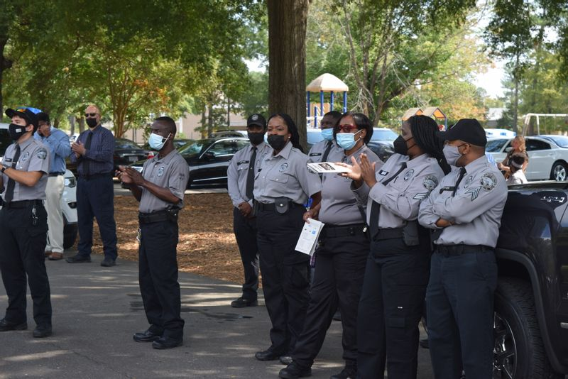 Correctional officers applaud during the ribbon-cutting ceremony last week. Shawn Taylor | Butner-Creedmoor News