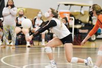 Kelcey Peterson keeps her eyes forward on the pass to the setter. Amanda Dixon | Butner-Creedmoor News