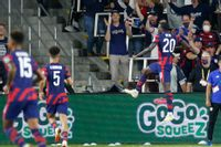 United States' Tim Weah, right, celebrates his goal against Costa Rica during the second half of a World Cup qualifying soccer match Wednesday in Columbus, Ohio. The United States won 2-1.