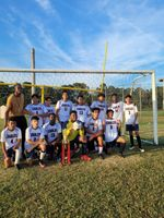 Members of the Sallie B. Howard School varsity boys soccer team pose after beating Wayne Prep 2-1 to clinch the CAASC Triangle Athletic Conference championship on Thursday. Contributed photo