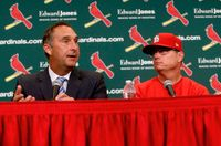 """St. Louis Cardinals President of Baseball Operations John Mozeliak, left, answers questions after the team announced Mike Shildt, right, as manager, at Busch Stadium in St. Louis.,in this Tuesday, Aug. 28, 2018, file photo. The Cardinals fired Shildt over organizational differences Thursday, just one week after St. Louis lost to the Los Angeles Dodgers on a walk-off homer in the wild-card game. Mozeliak said the firing  was """"something that popped up recently,"""" but he refused to expand on what he called """"philosophical differences"""" between Shildt, the coaching staff and the front office."""