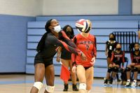Courtney Williams makes the pass from the back row. Williams' play lead the Lady Warriors to the 3-2 win over South Granville. Amanda Dixon | Butner-Creedmoor News