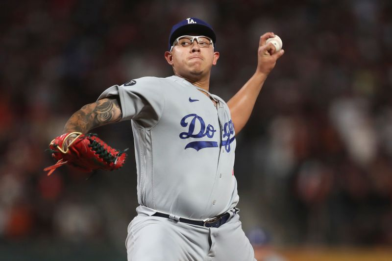 Los Angeles Dodgers' Julio Urias pitches against the San Francisco Giants during the third inning of Game 5 of the National League Division Series Thursday in San Francisco.