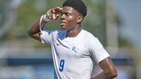 Barton junior Immanuel Akpeme scored a goal during the Bulldogs' 5-1 win Saturday against Erskine at Bulldogs Athletic Complex.