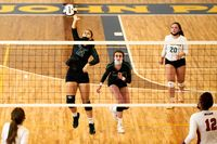 Barton's Jeallen Holland (12) hits the ball as teammates Ysabella Saldi (3) and Mackenzie Landers (20) look on during Saturday's CPIC tournament semifinal against Wayne Country Day at Pope John Paul II Catholic High in Greenville.