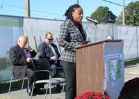 Wilson Academy of Applied Technology Principal Krystal Cox speaks during a Tuesday groundbreaking ceremony for the school's new building at Wilson Community College's Lee Technology Center site.