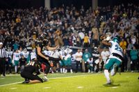 Appalachian State place kicker Chandler Staton (91) kicks a game-winning field goal during the second half against Coastal Carolina on Wednesday in Boone.