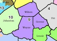 Wilson, Wayne and Greene counties, in purple, combine to form a new N.C. Senate District 9 in a preliminary redistricting plan state lawmakers released for public review on Wednesday.