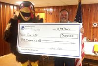 The Wilson Breakfast Optimist Club donated $1,000 to the Arc of Wilson County in support of the Gobble Wobble 5K run scheduled for Thanksgiving. Race mascot Mr. Gobble Wobble is shown accepting a giant replica check from club President Dennis Medlin to commemorate the contribution.