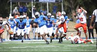 Barton quarterback Jaquan Lynch (0) breaks free on a 61-yard touchdown run on the team's first play from scrimmage during Saturday's game against Carson-Newman at Truist Stadium.
