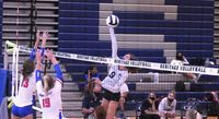 Heritage's Kate Dawson throws down a spike against Wake Forest. The sophomore is second on the squad with 142 kills this season.