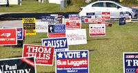 Properly placed campaign signs line the entrance of the Mount Pleasant early voting site near Bailey ahead of last year's general election. Such signs should only be placed in the right-of-way 30 days prior to the beginning of voting.