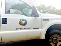 An Envirolink pickup truck is pictured at a Spring Hope job site in October 2019. The company handles public works for Spring Hope along with area towns including Bailey and Elm City.