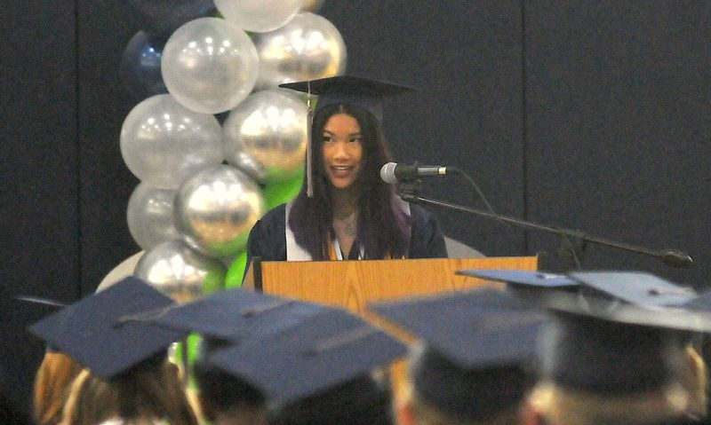 Heritage's senior class president Safina Luu gave the welcome address for the graduation ceremony.
