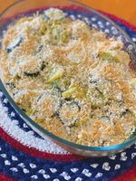 The season's fresh yellow squash and zucchini join in this delicious gratin.
