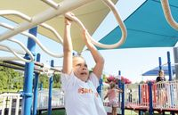 Seven-year-old Ava Hinnant, the late Cannon Hinnant's sister, plays on the BB&T Noah's Arc All Children's Playground on Monday at the J. Burt Gillette Athletic Complex.