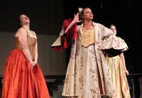 """Alissa Korson, center, plays the evil stepmother in a community performance of """"Cinderella,"""" sharing the stage with evil stepdaughters portrayed by Julie Wall, left, and Macaylee Wiggs."""