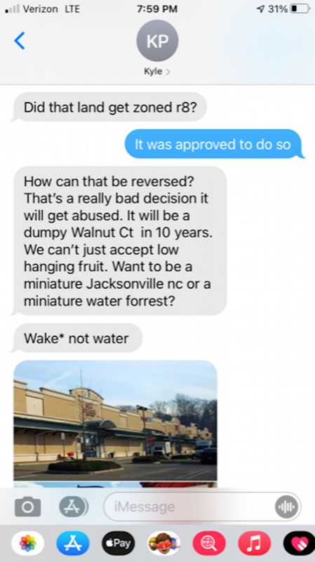 """This is the first of five screenshots showing July 8 text messages from mayoral candidate Kyle Pritchard on the subject of housing in Spring Hope. In this text, Pritchard describes the Walnut Court subdivision as """"dumpy."""" The Enterprise obtained the messages through a public records request for texts to town Commissioner Brent Cone."""