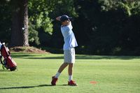 Luke Allegood lines up his tee shot off the No. 1 tee during last week's opening round of the Larry Pittman Memorial/Wilson County Junior Golf Championship at Willow Springs Country Club. Allegood won the Boys 9-10 division for his third age-group title in as many tries.