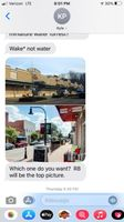 This is the second of five screenshots showing July 8 text messages from mayoral candidate Kyle Pritchard on the subject of housing in Spring Hope. In this text, Pritchard provides photos of a two possible futures for Spring Hope, a strip mall and a vibrant downtown.