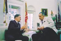 NASA Administrator James Webb, left, meets with President Lyndon Johnson in the Oval Office. Webb was born in Tally Ho near Stem.