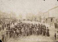 Bicyclists pose for a photo on Main Street in Oxford in 1897.