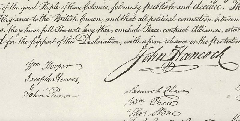 John Penn of Granville County signed the Declaration of Independence in 1776. Although smaller than John Hancock's, his name is seen to the bottom left.