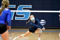 Lady Viking player Samantha Piotrowski returns a Person High serve in the third set of Tuesday's match.