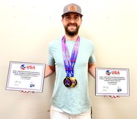 A.J. Carney won two gold medals in the U.S. National Table Tennis championship.