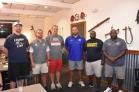 Head football coaches of the 2-A Neuse 6 Conference gathered for the first time Thursday at Lowell Mill Restaurant in Kenly. From left to right are Spring Creek's Daniel Robinson, Ben Ellis of Beddingfield, Michael Barnett of North Johnston, Princeton's Travis Gaster, Tim Ray of Goldsboro and Eastern Wayne's Leander Oates. Jimmy Lewis | Times