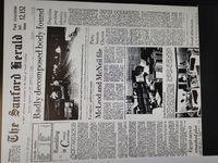 Full front page of The Sanford Herald on Sept. 14, 1986. The Sanford Herald gave me permission to use these images.