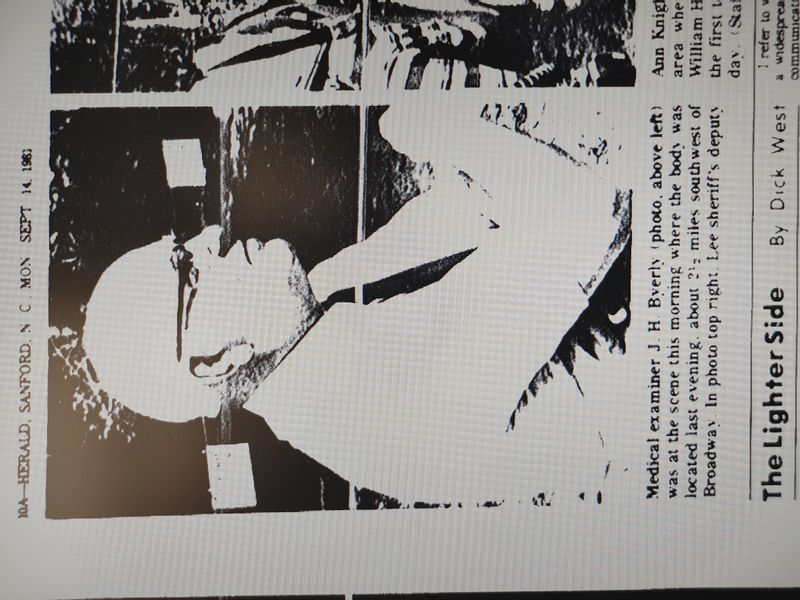A screenshot of the Lee County medical examiner in 1981. The Sanford Herald gave me permission to use these images.