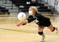 Alexa Riley dives to return the ball for the Lady Panthers during the Sept. 9 match against the Vance County Vipers.