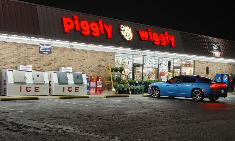 The Piggly Wiggly in Bailey is shown at closing time Monday night. The store's owner is concerned about lack of police coverage in the town.
