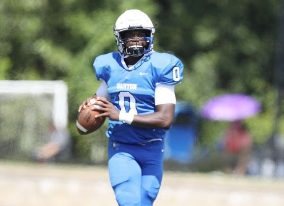 Barton quarterback Jaquan Lynch looks for a target during the Bulldogs' season-opening game Sept. 4 against Newberry at Truist Stadium. A Rocky Mount High graduate, Lynch had his best day as a Bulldog on Sept. 11 in a 38-25 win at Erskine.