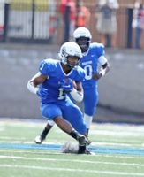 Jordan Terrell (1) runs with the ball after taking a handoff from quarterback Jaquan Lynch (0) during Barton's season-opening game Sept. 4 against Newberry at Truist Stadium. With 770 yards in four games, Terrell leads NCAA Division II in rushing yards.