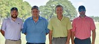 The winning team at the North Carolina Baseball Museum's 19th annual Celebrity Golf Tournament, played Aug. 25 at Wedgewood, was, from left, Daniel Claytor, Jonathan Bissette, Steve Vacendak and Bryan Howell.