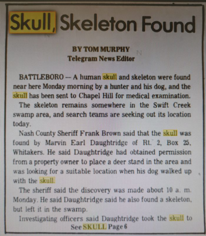 This newspaper clipping from 1978 details the discovery of a skeleton in Swift Creek Swamp.